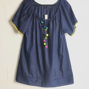 J. Crew Embroidered Pompom Tunic Cover-up Boho Top